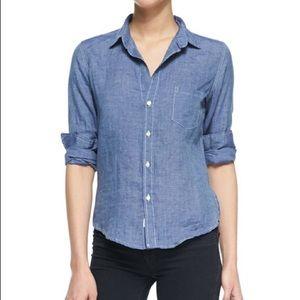 FRANK & EILEEN Blue Linen Button Down Shirt